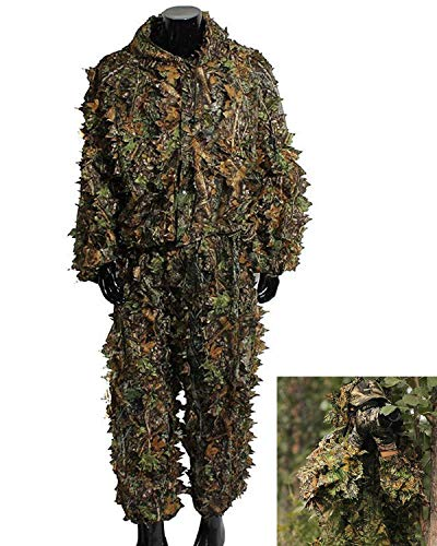 Hunting Camo Clothes Sniper Ghillie Suit Halloween Cosplay Costume Woodland 3D Leaf Hunting -