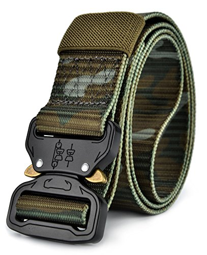 Ayli Men's Tactical Rigger's Web Belt Military Heavy Duty Nylon Quick Release, Style 1 Camouflage Green, bt6b001gn