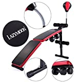 JAXPETY Adjustable Foldable Sit Up AB Incline Abs Bench Flat Weight Dumbbell +Speed Ball