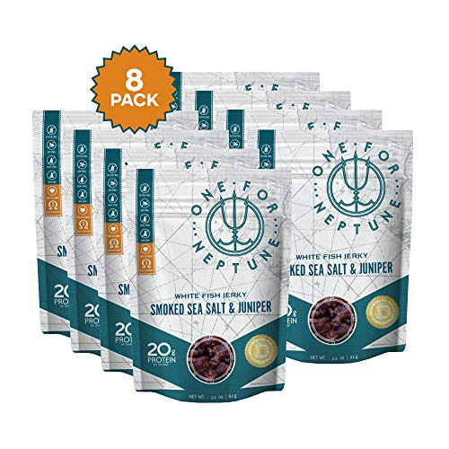 - Wild Caught White Fish Jerky - Smoked Sea Salt & Juniper 8-Pack - OneForNeptune 2.2oz Bags | Organic, Gluten-Free & Paleo | 20g Protein & 580mg Omega 3s | Sustainably Sourced from Small US Fisheries