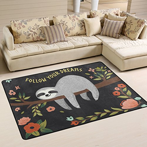 Naanle Inspiration Quote Area Rug 4'x6', Cute Sloth on Tree Polyester Area Rug Mat for Living Dining Dorm Room Bedroom Home Decorative