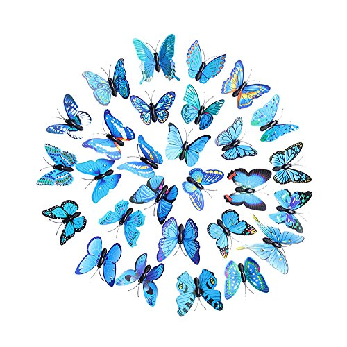Yanwuuh 3D DIY Decal Wall Stickers Home Decor Rainbow 30 pcs Butterfly Sticker Background Nursery Room Decor (Blue, BU) (Stickers Wall 30 Heart Pcs)