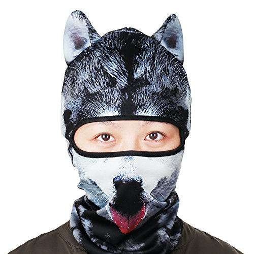 Price comparison product image 3D Animal Balaclava Face Mask with Ears Breathable Fashion Animal Style Headgear Hats for Outdoor Sports Motorcycle Cycling Skiing Halloween Party Cosplay (BBG-06)