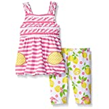 Nannette Little Girls 2 Piece Bubble Top Playwear Set, Pink, 6-9 Months