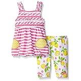 Nannette Little Girls 2 Piece Bubble Top Playwear Set, Pink, 6-9 Months