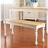 Better Homes and Gardens Autumn Lane Farmhouse Bench, White and Natural For Sale