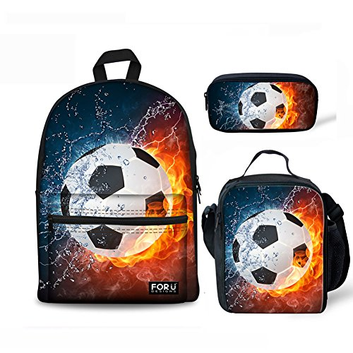 - FOR U DESIGNS Teens Backpack Set 3 Piece Soccer Canvas Boys School Bags,Lunch Bags,Pencil Box 3 in 1