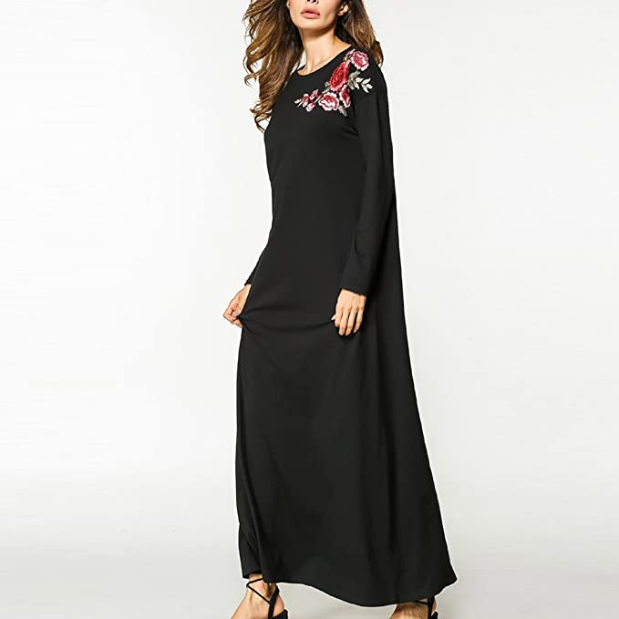 Zhhlinyuan Abaya Flowers Kaftan Dress Islamic Clothing For Women Long Sleeve Gown at Amazon Womens Clothing store: