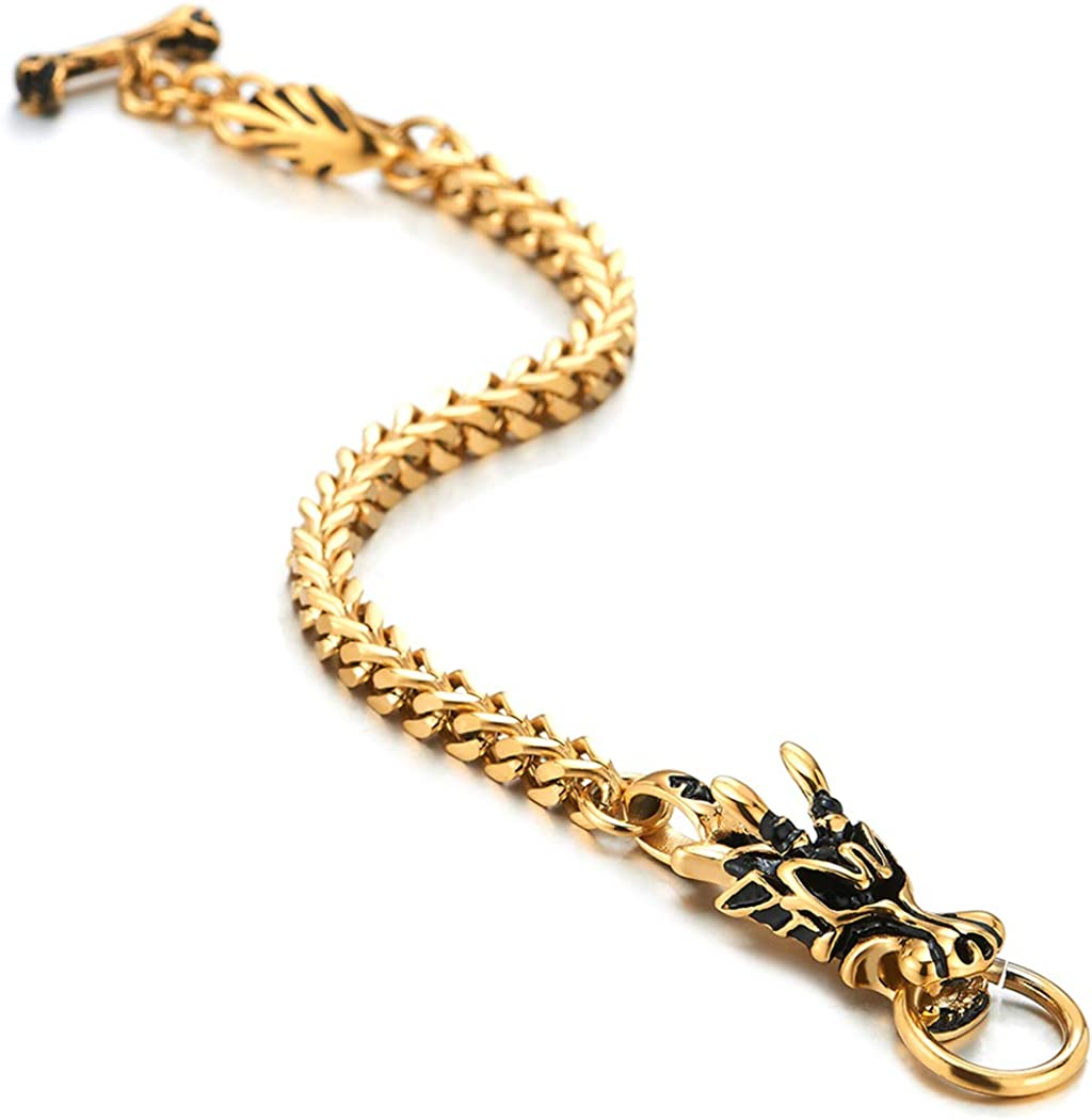 MEN Vintage SOLID Brass DRAGON Snap CLASP Key HOLDER with Double Spring Ring