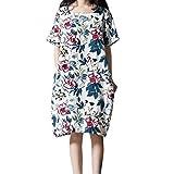 PASATO M-5XL Plus Size Women's Casual Short Sleeve O-Neck Floral Print Cotton Dress With Pockets T-Shirt Dress(White,M=US:S)