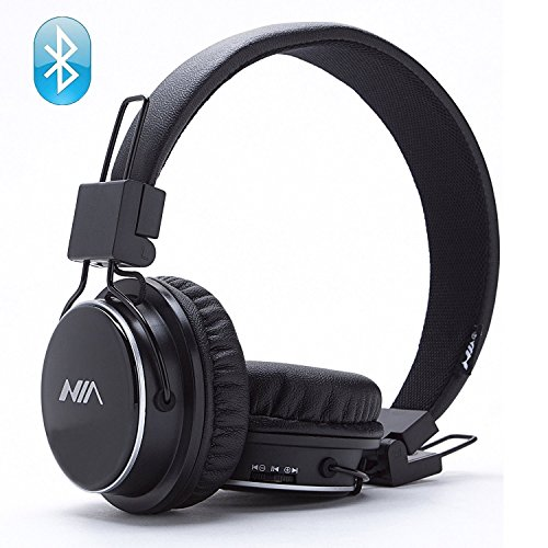 Wireless Bluetooth Headphones, Over Ear Foldable, TF card play, FM radio, Audio Input with Microphone for Iphone Android and Good Choices for Gift, On Ear Black