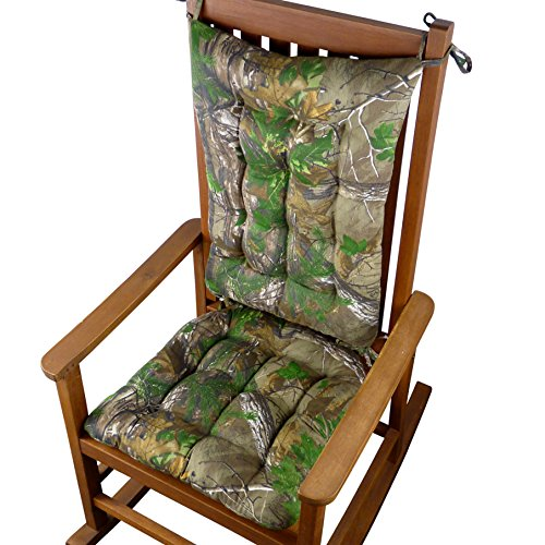 Realtree Xtra Green (R) Camo Rocking Chair Cushions - Extra-Large - Reversible, Latex Foam Fill - Machine Washable (Extra-Large)