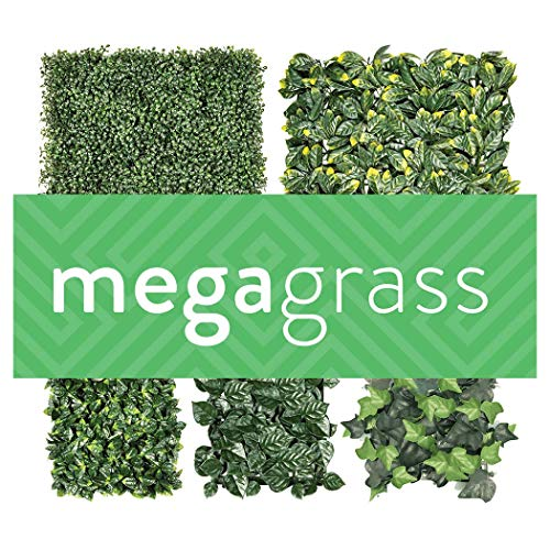 MegaGrass Heart Leaf | Decorative Wall Greenery Fence Covering | Indoor Outdoor 25 x 25 in. Two-Toned Large Leaf Panel | Size 2
