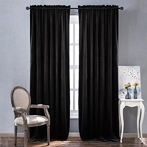 Heavy Matt - NICETOWN Bedroom Velvet Blackout Curtain Panels - Solid Heavy Matt Rod Pocket Drapes/Window Treatments (2 Pieces, 96 inch Long, Black)