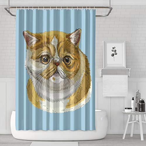 (QWWTYTYR Shorthair Cat Shower Curtain Bath Curtain Liners Polyester Cloth Casual Pattern Soft Decorative Space Bathroom Curtain 70.9 X 70.9 Inch)