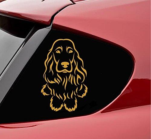 Slap-Art English Cocker Spaniel Dog Sitting Vinyl Decal Sticker (Satin Gold)