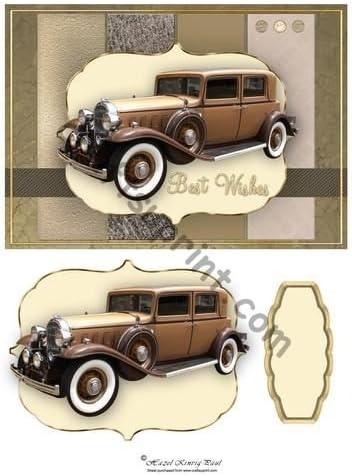 Vintage Car Card /& Decoupage Topper by Hazel Kinvig-Paul