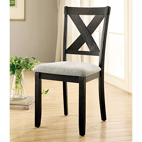 (Furniture of America Dasni Transitional X-Back Fabric Brushed Black Dining Chair (Set of 2))
