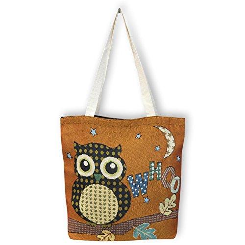 Eule Eulen Tasche Shopper Strandtasche mit Reißverschluss ***OCKER-BRAUN mit Eule auf dem Ast sitzend*** Shopping bag Umhängetasche Beuteltasche - VINTAGE LOOK / absolut cool und stylish