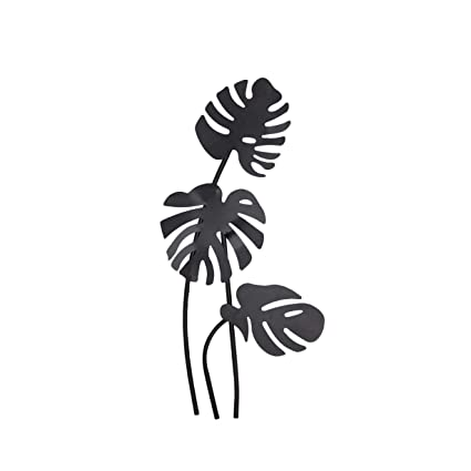 80c6edab8e Black Palm Leaf Wall Metal Art Tropical Leaves Wall Decor Floral Sculpture  Flower Design Hanging Wall