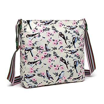 Miss Lulu Women Messenger Bag Bird Flower Canvas School Bag for Girls Cross Body Satchel Leisure Slouchy Shoulder Bag (Beige Bird 1104-16J)
