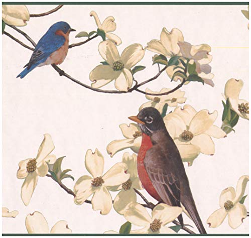 Wall Border - Colorful Birds White Flowers White Nature Wallpaper Border Retro Design, Prepasted Roll 15 ft. x 10 in. ()