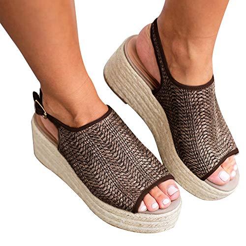 Athlefit Women's Espadrille Wedge Sandals Braided Jute Ankle Buckle Platform Summer Sandals Size 5.5 Jute-Brown