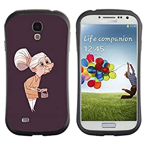 Fuerte Suave TPU GEL Caso Carcasa de Protección Funda para Samsung Galaxy S4 I9500 / Business Style Granny Old Lady Painting Art Clutch Grey Hair