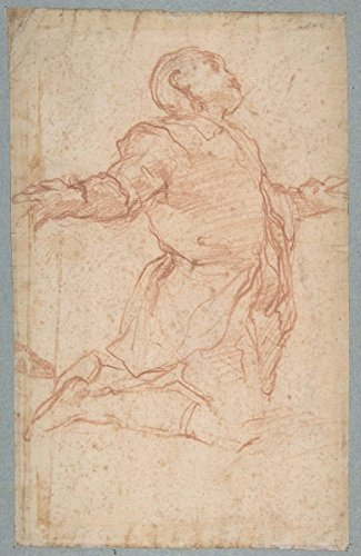 """Drawing """"Kneeling Male Figure with Outstretched Arms (recto); Semi-Nude Seated Male Figure seen from Behind (verso)"""" 