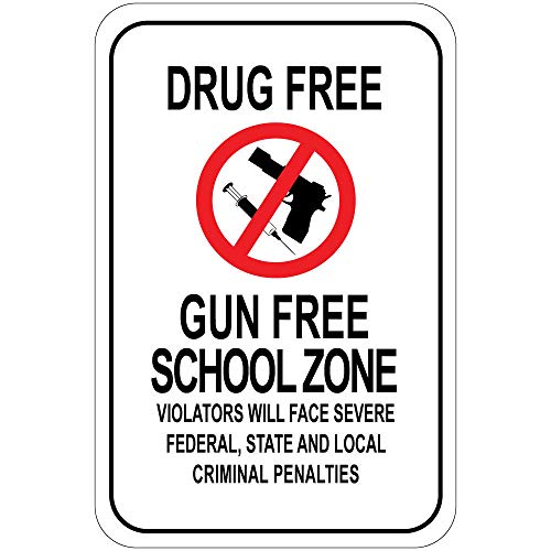 Drug Free Gun Free School Zone Violators Will Face Penalties Vinyl Sticker Decal 8