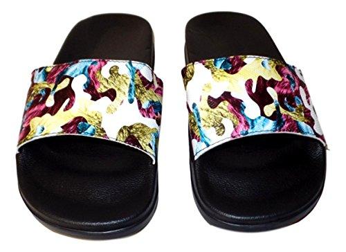 Womens Tropiska Print Slide Sandal Flip Flop Vit