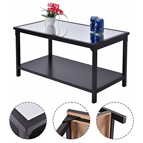 Discount giantex accent coffee table glass top modern for Cheap modern furniture amazon