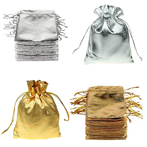 (FineInno 100 Packs Gold and Silver Drawstring Organza Pouches Jewelry Gift Bags Candy Party Wedding Favor Present Christmas Halloween Bags (7X9cm))
