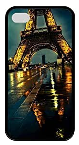 Eiffel Tower At Night TPU Black Case for iphone 4S/4