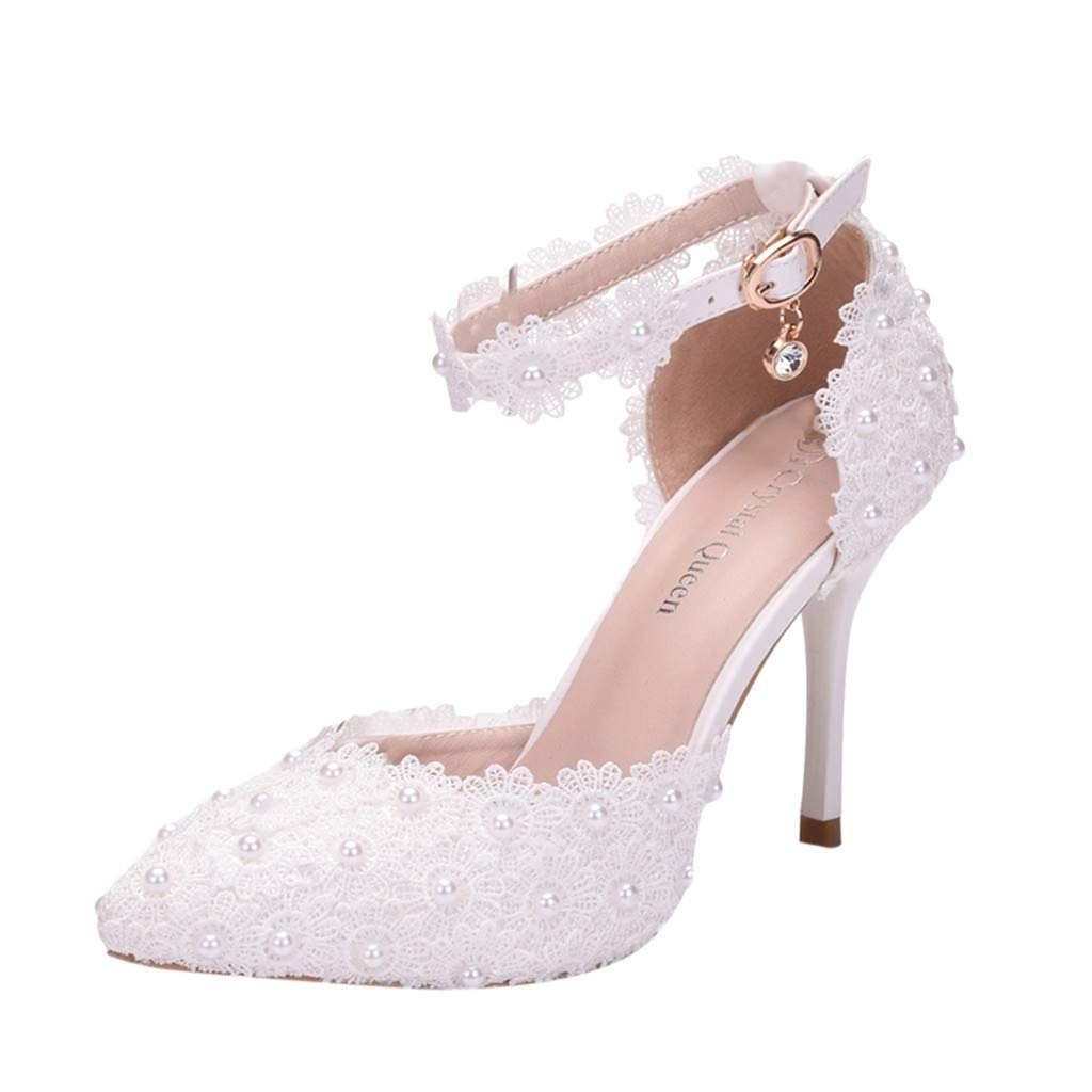 Sonmer Women's Crystal Wedding Pointed Toe Thin Sandals High Heel Shoes 2019 Ladies Shoes (White, 4.5 M US)