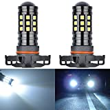 KaTur Extremely Bright 2700 Lumens 3030 27SMD H16 5202 Lens Fog Lights DRL Bulbs Day Running Light Lamp 12V-24V White 6000K (Pack of 2)