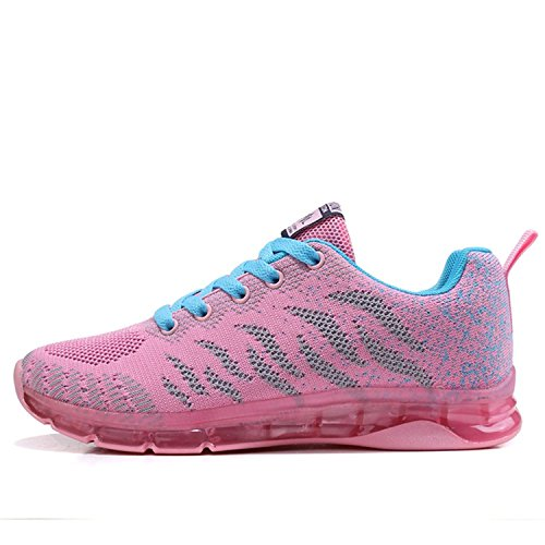 LILY999 Femme Fille Baskets Chaussures de Course Running Sports Fitness Gym Basses Sneakers Multisports Outdoor Rouge Violet Rose 35-40 Rose ZbmcyUsO