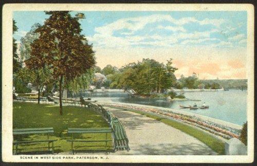 Canoeing West Side Park Paterson NJ postcard 1910s -