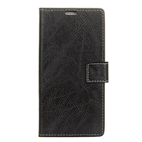 - iPromama for OnePlus 6T Genuine Leather Wallet Case Cover, Flip Stand, Card Slot, Stylish, Black