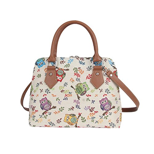 (Signare Women's White Tapestry Top Handle Handbag with Detachable Strap to Convert to Shoulder Bag in Owl Design (Conv-OWL))