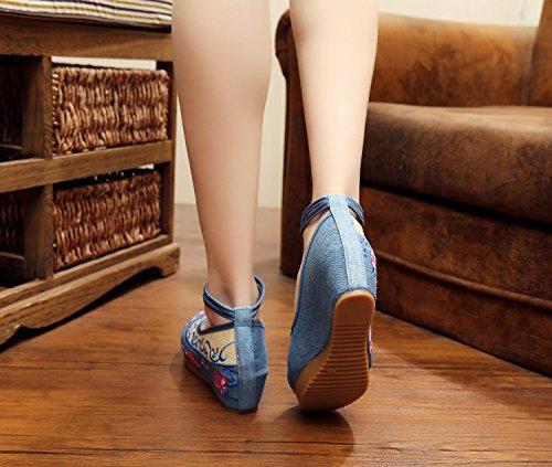 Excellanyard Femmes Plate-forme De Broderie Cales 04-bleu