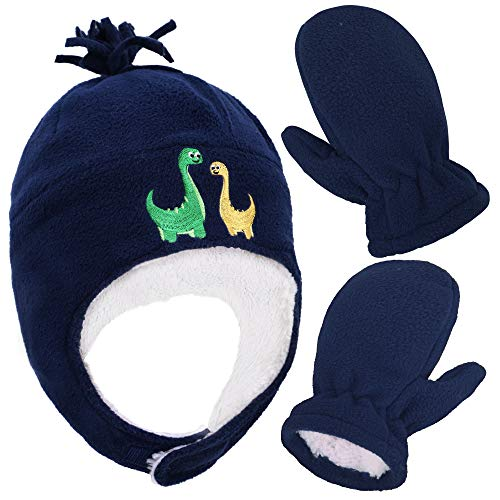 Boys Sherpa Lined Dino Embroidered Fleece Hat & Gloves Set, L 5-7 Years