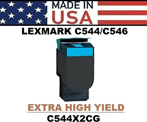 ALL CITY USA REMANUFACTURED Toner Cartridge Replacement for LEXMARK C544/C546/X544/X546/X548 (Cyan) Extra HIGH Yield