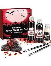 Fake Blood met 1* 50ml donker rood bloed, 1* 60ml vers bloed en 1* 30ml Liquid Latex sfx make-up door Fright Fest, om zombie huid verrassende schrik litteken te creëren, veilig gebruik om verbazingwekkende halloween make-up te maken