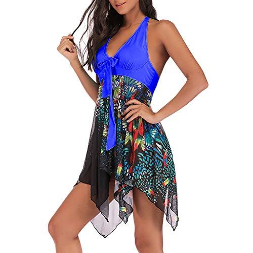 TANGSen Women Tankini Floral Print Swimwear Two Piece Print Plus Size Bathing Asymmetric Swimdress Casual Beachwear Blue ()
