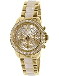 Invicta 20511 Womens Angel Crystal Accented Gold Tone Dial Steel & Acetate Bracelet Watch