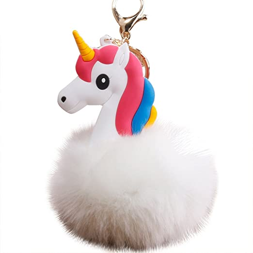 Little rock Cute Plush Ball Unicorn Keyring Key Chain Keyring Handbag Car Decoration