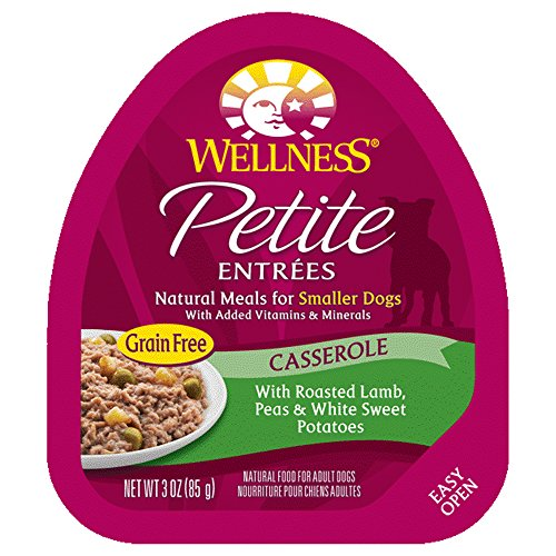 Wellness Petite Entrees Casserole Natural Grain Free Wet Small Breed Dog Food, Roasted Lamb, 3-Ounce Cup (Pack Of 24)