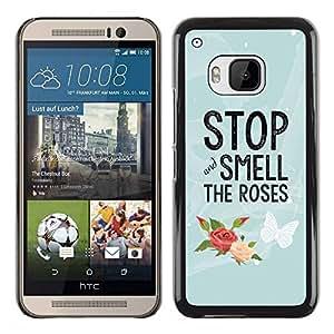 TopCaseStore / la caja del caucho duro de la cubierta de protección de la piel - Smell The Roses Butterfly Text - HTC One M9