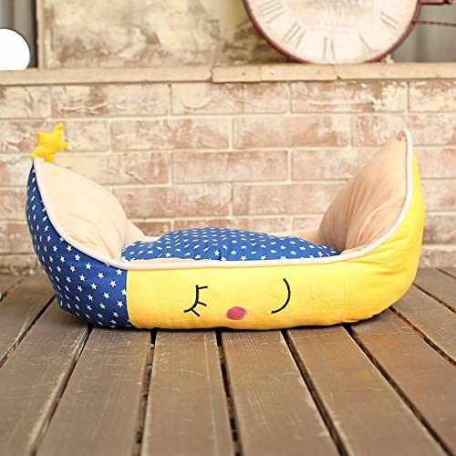 Colorfulhouse Cute Moon Boat Pet Bed with Removable Bed Mat